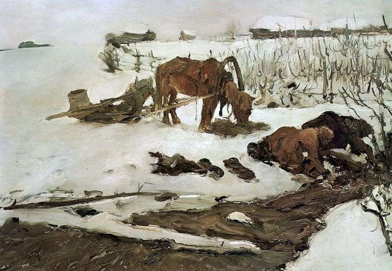 Lniane paski (na rzece)   Valentin Serov