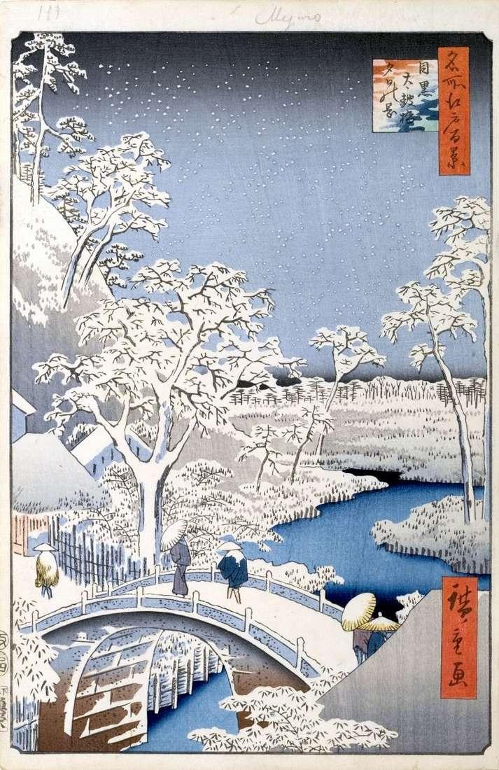Yuhinoka Hill i most Taikobashi w Meguro   Utagawa Hiroshige