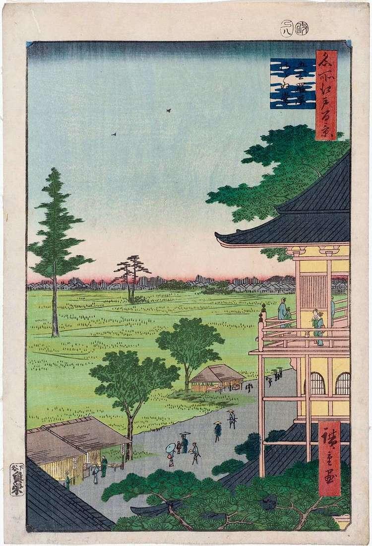 Temple Sadzae Gohya kurakan Monastery (Pięćset Arhatów)   Utagawa Hiroshige