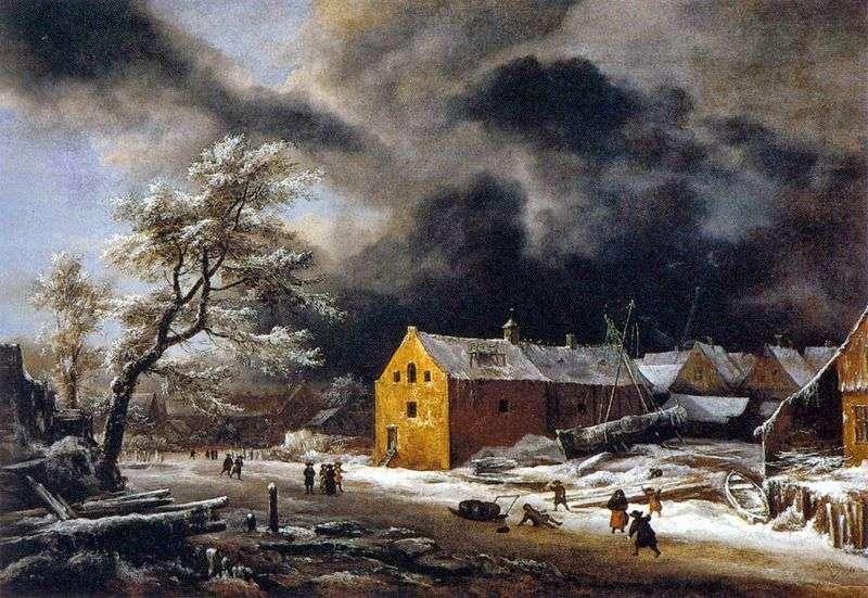 Zimowy wieczór   Jacob van Ruysdal