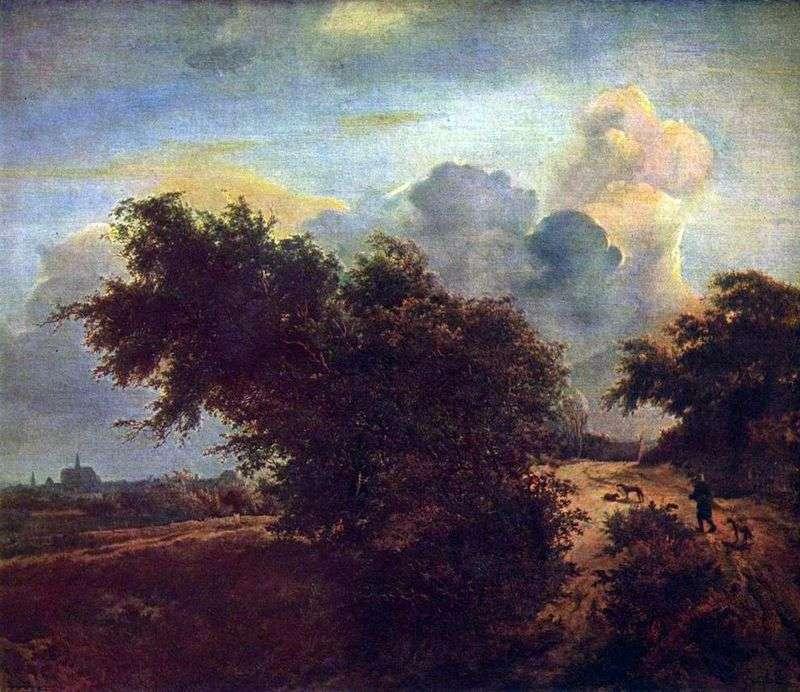 Krajobraz na wydmach z krzewami   Jacob van Reisdal