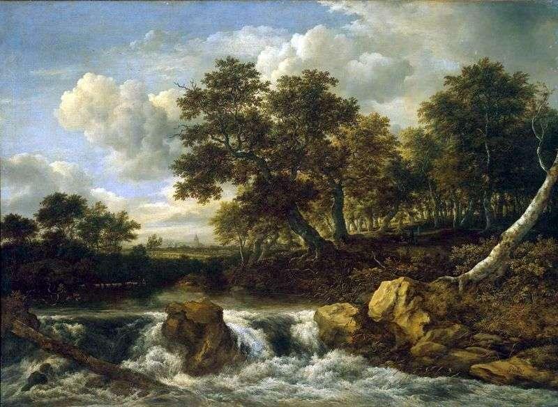 Krajobraz z wodospadem   Jacob van Ruisdal