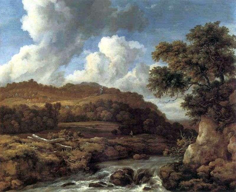 Krajobraz z zalesionymi wzgórzami i potokiem   Jacob van Ruisdael