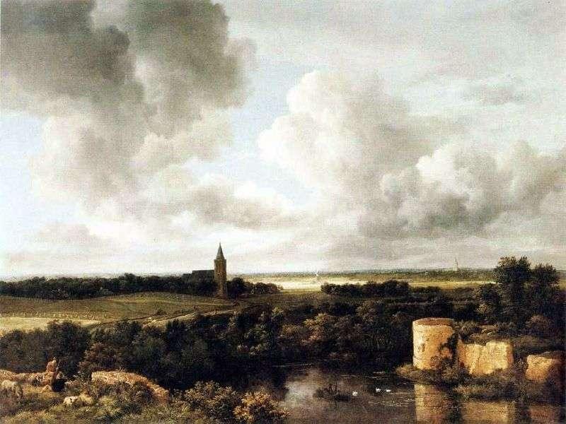 Pejzaż z ruinami zamku i kościołem   Jacob van Reisdal