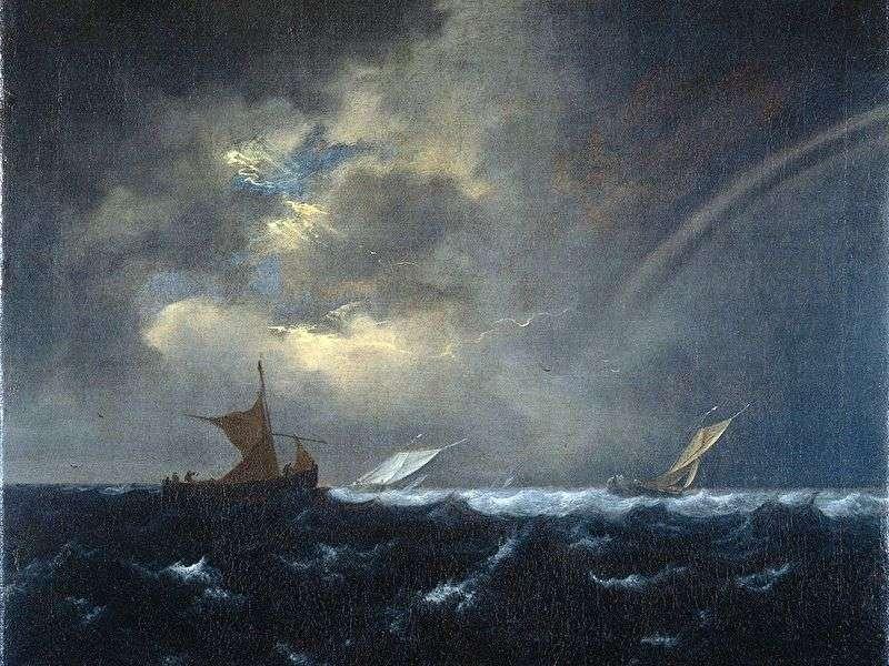 Tęcza na wzburzonym morzu   Jacob van Ruisdal