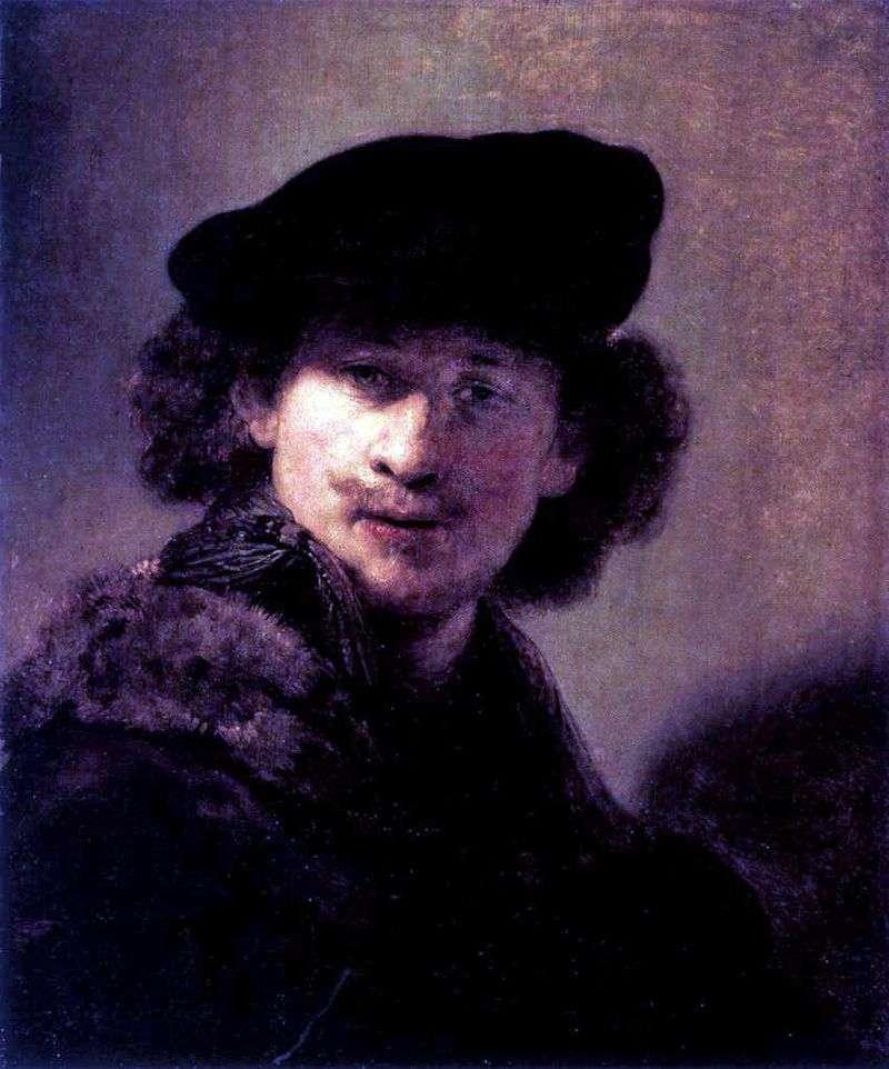 Autoportret w Corduroy Beret   Rembrandt Harmens Van Rhine