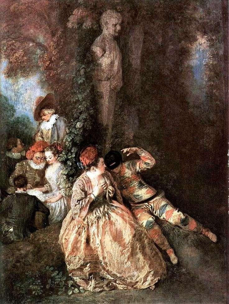 Gallant Harlequin i Columbine   Jean Antoine Watteau