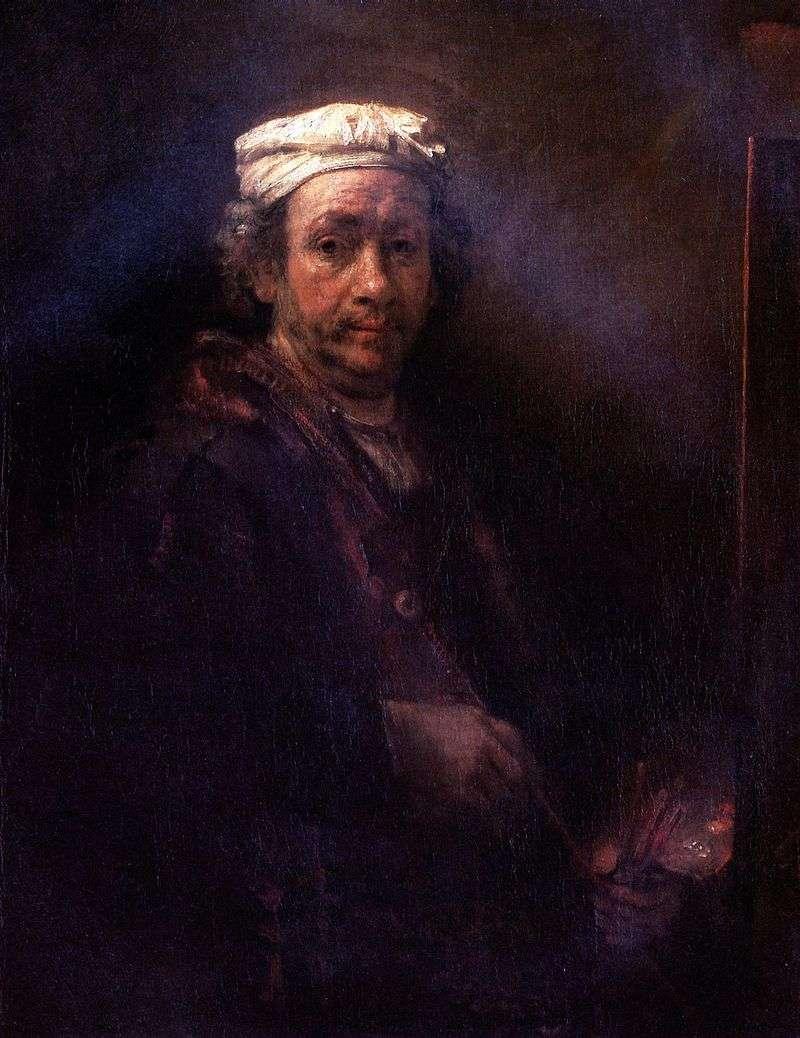 Autoportret na sztaludze   Rembrandt Harmens Van Rhine
