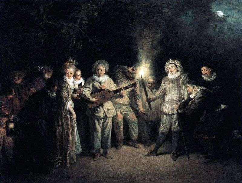Włoska komedia del artet   Jean Antoine Watteau