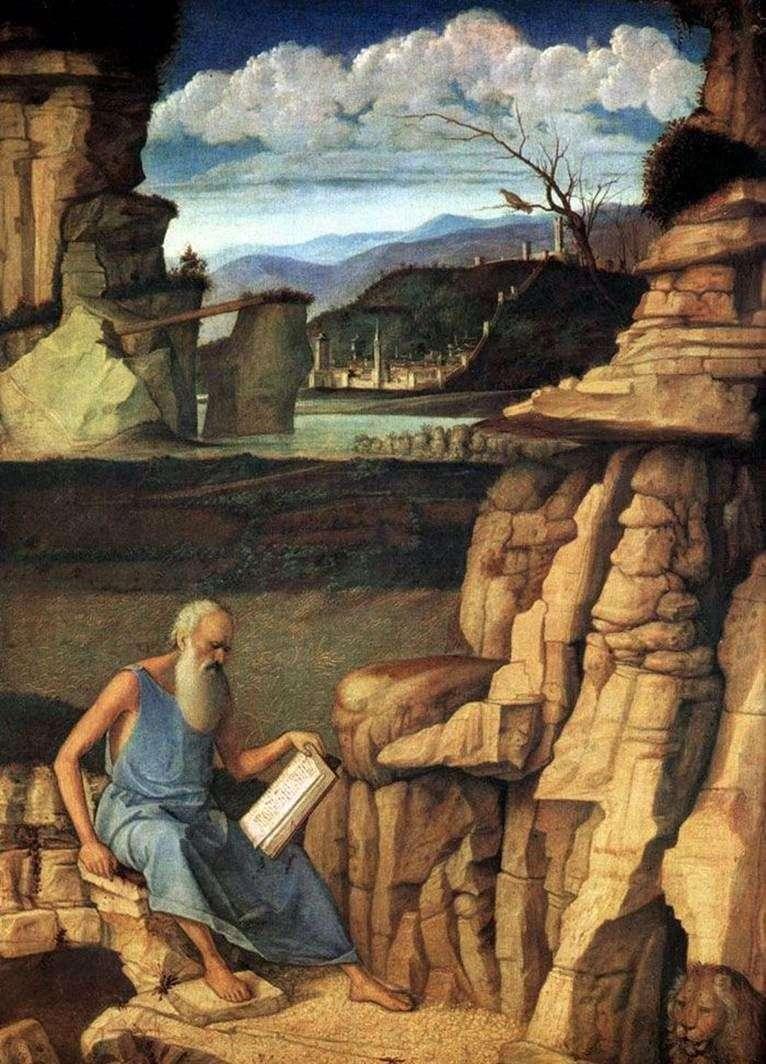 Święty Jerome Czytanie w przyrodzie   Giovanni Bellini