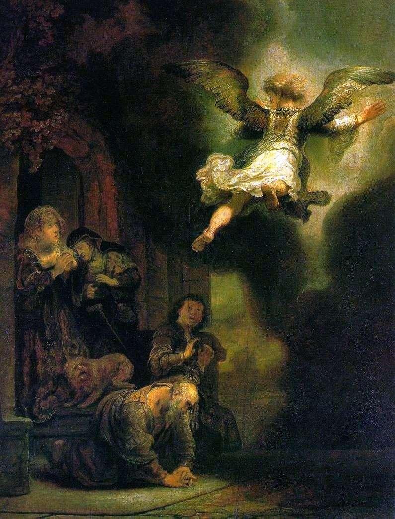 Archanioł Rafael, pozostawiając rodzinę Tobiasza   Rembrandta Harmensa Van Renu