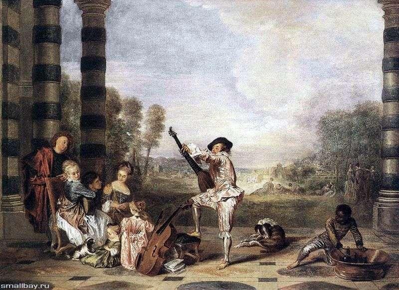 Muzyczne przyjęcie w teatrze letnim   Jean Antoine Watteau