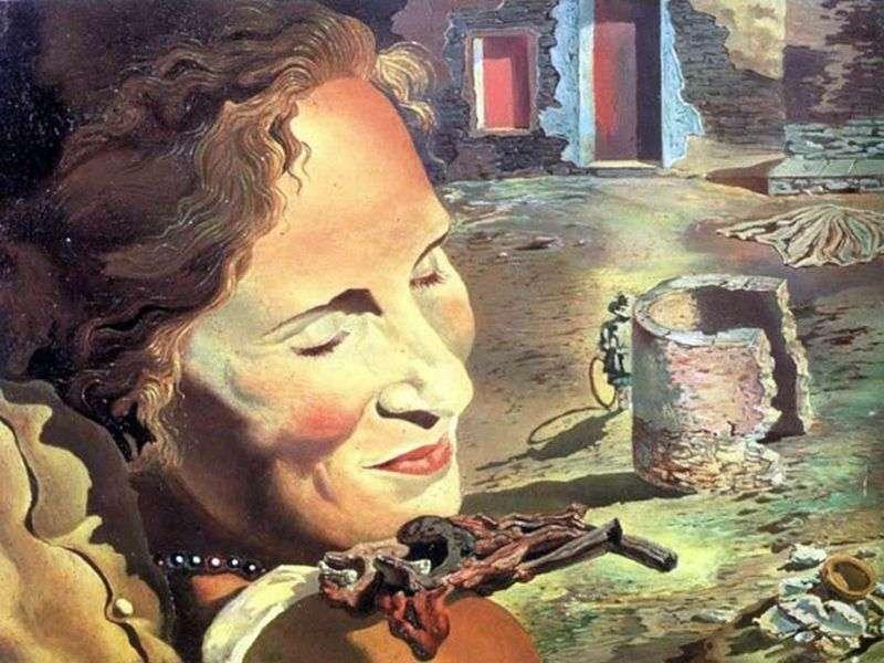 Portret galowy z dwoma jagnięcymi żebrami wyważonymi na ramieniu   Salvador Dali
