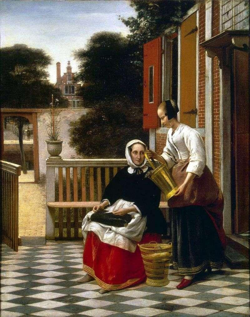 Pani i pokojówka na dziedzińcu   Pieter de Hoch