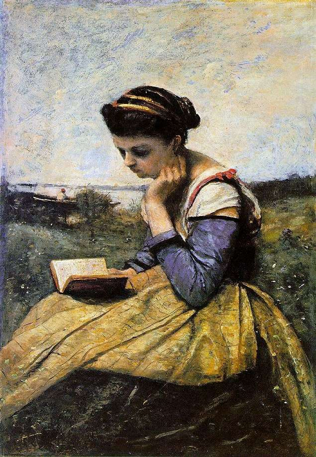 Kobieta czytająca w krajobrazie   Camille Corot