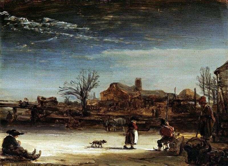 Zimowy krajobraz   Rembrandt Harmens Van Rhine