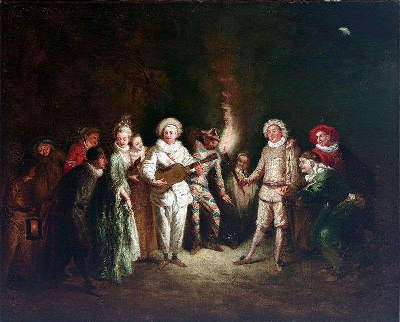 Scena w Teatrze Włoskim   Jean Antoine Watteau