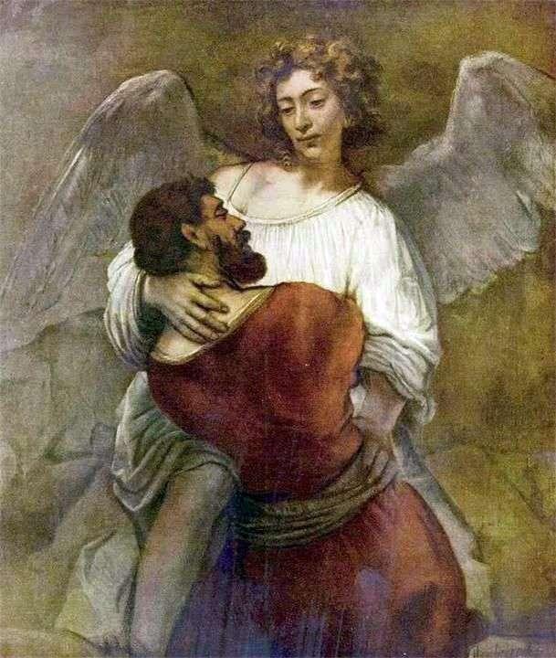 Jakub zmaga się z aniołem   Rembrandt Harmens Van Rhine