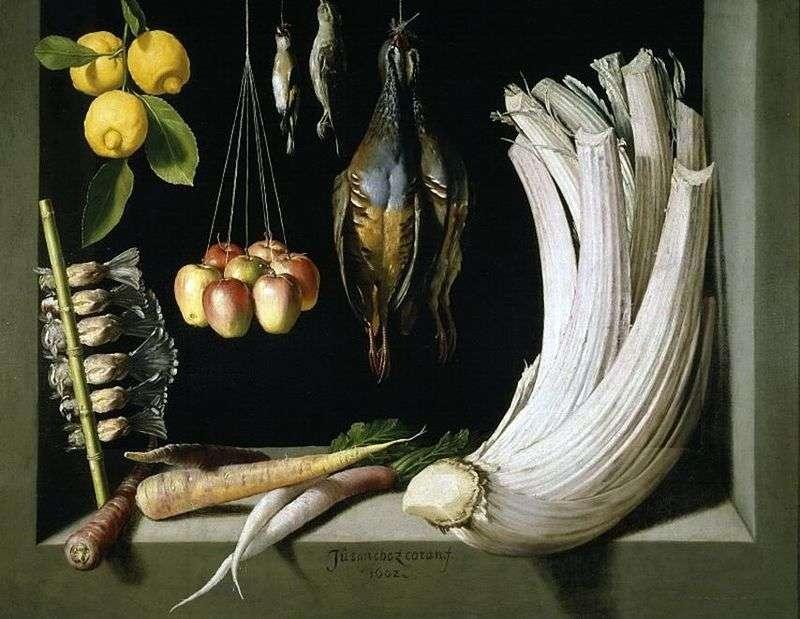 Martwa natura z grą   warzywa i cytryny, Sanchez Juan Cotan
