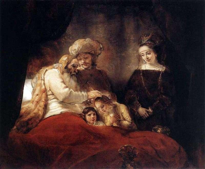 Jakub błogosławi synom Józefa   Rembrandt Harmens Van Rhine