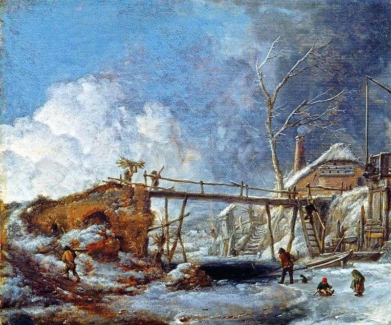 Zimowy pejzaż z drewnianym mostem   Philips Vauverman