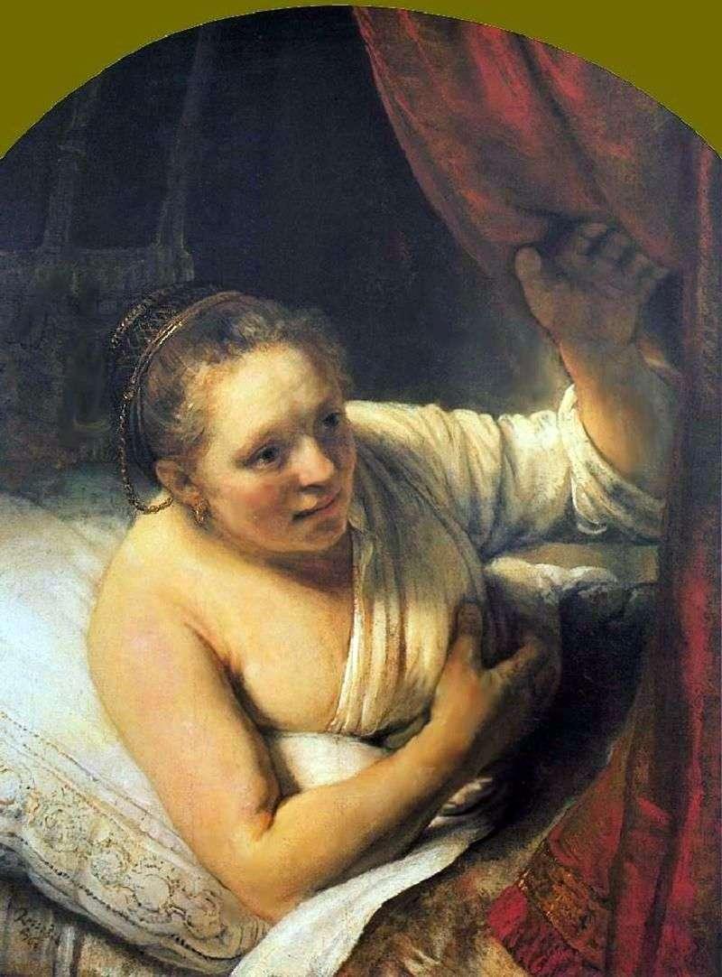 Młoda kobieta w łóżku   Rembrandt Harmens Van Rhine