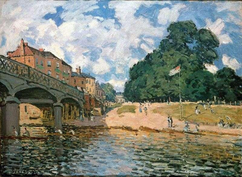 Most w pobliżu Hampton Court   Alfred Sisley