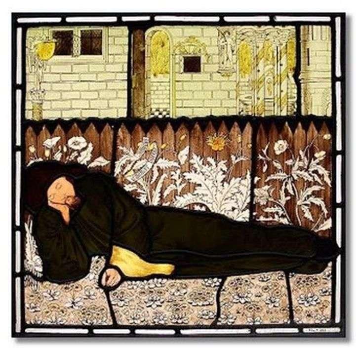 Śpiący Chaucer   Edward Burne Jones