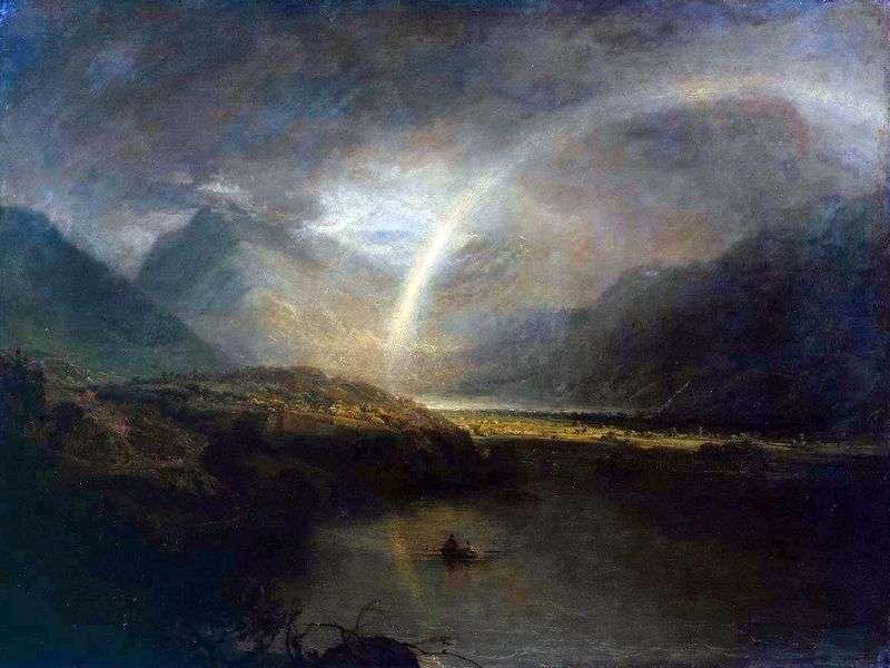 Jezioro Buttermere z tęczą i deszczem   William Turner