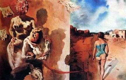 Sen kładący rękę na plecach mężczyzny   Salvador Dali