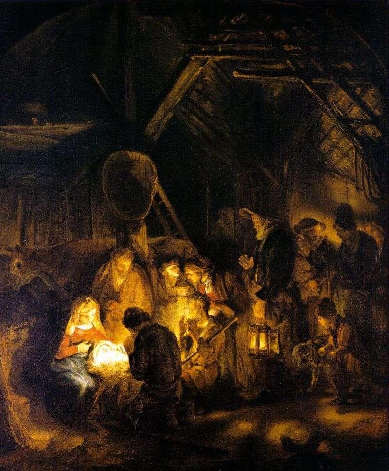 Adoracja pasterzy   Rembrandt Harmens Van Rhine