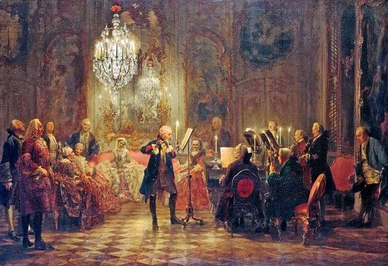 Koncert Fryderyka Wielkiego w Sans Souci   Adolf Menzel