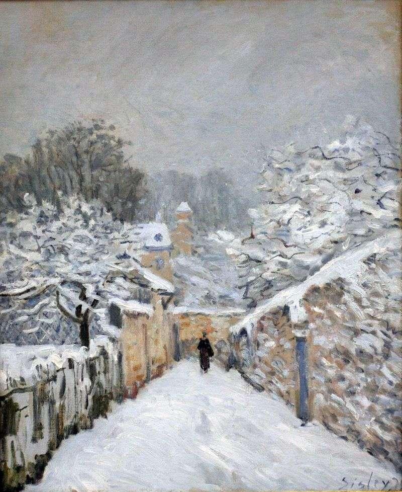 Śnieg w Louvienienna   Alfred Sisley