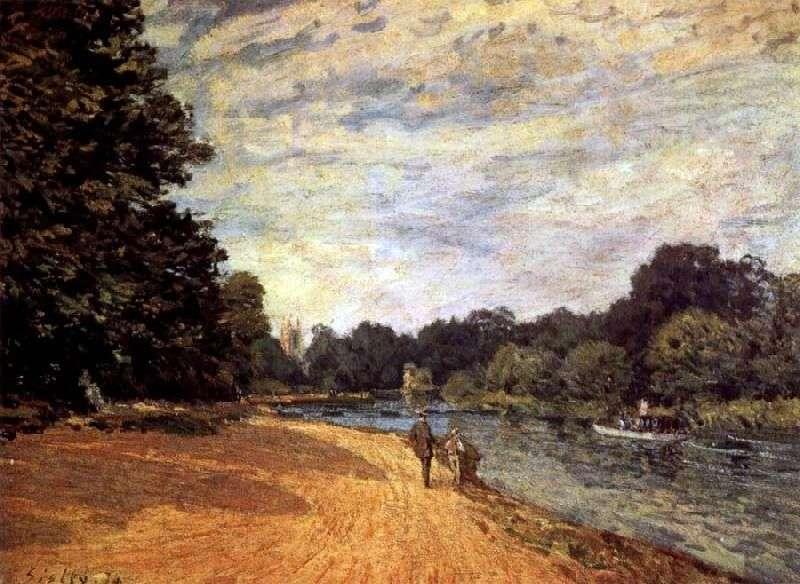 Tamiza w pobliżu Hampton Court   Alfred Sisley