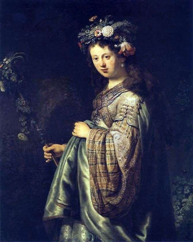 Portret Saski jako Flory   Rembrandt Harmens Van Rhine