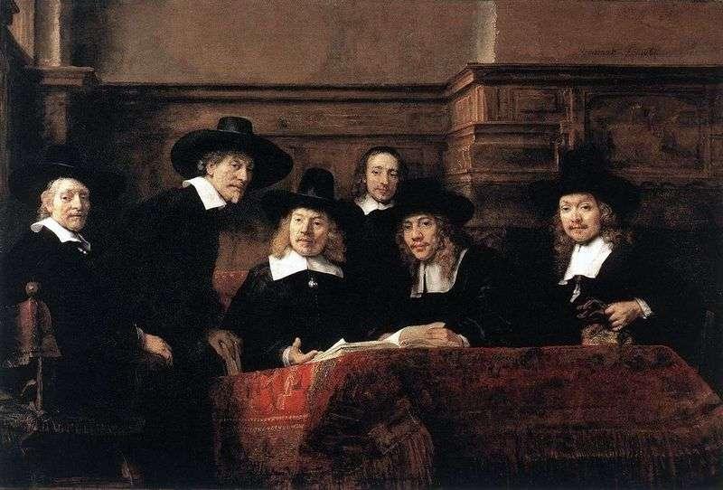 Portret sklepu Syndicus Cloth   Rembrandt Harmens Van Rhine