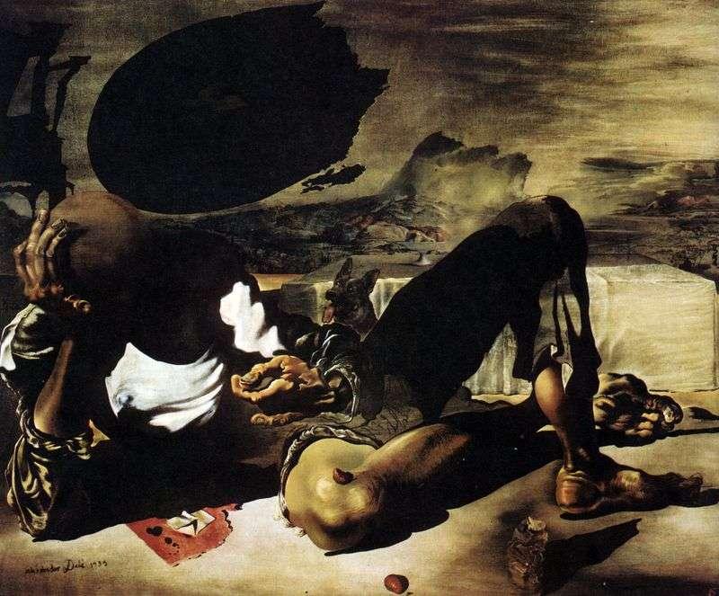 Filozof Oświetlony przez Księżyc i Wadliwe Słońce   Salvador Dali