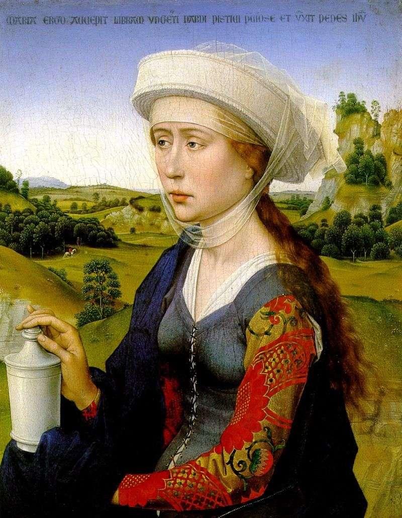 Prawe skrzydło to Maria Magdalena. Tryptyk małżeństwa rodzinnego   Rogier van der Weyden