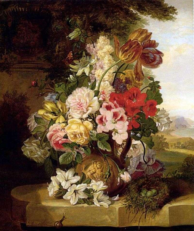 Martwa natura z tulipanów, róż, innych kwiatów i motyli   John Weinwright