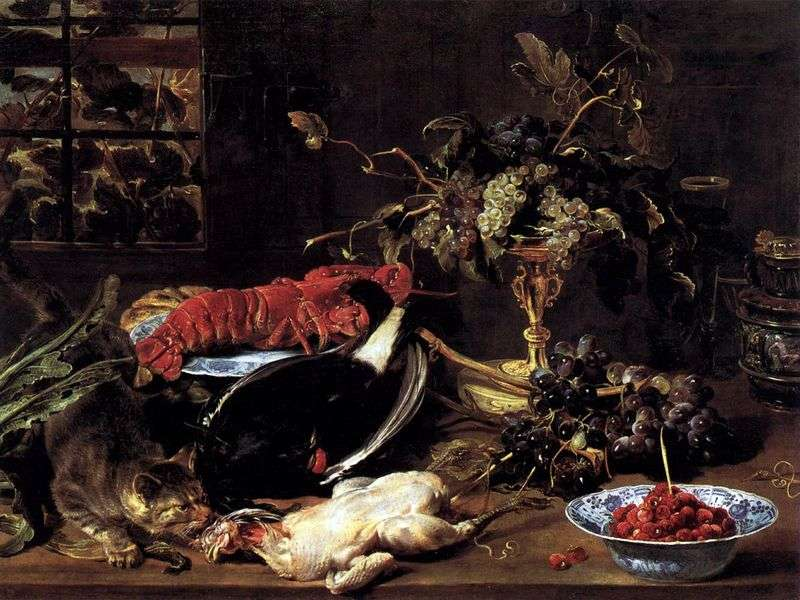 Martwa natura z głodnym kotem, homarem i owocami   Frans Snyders