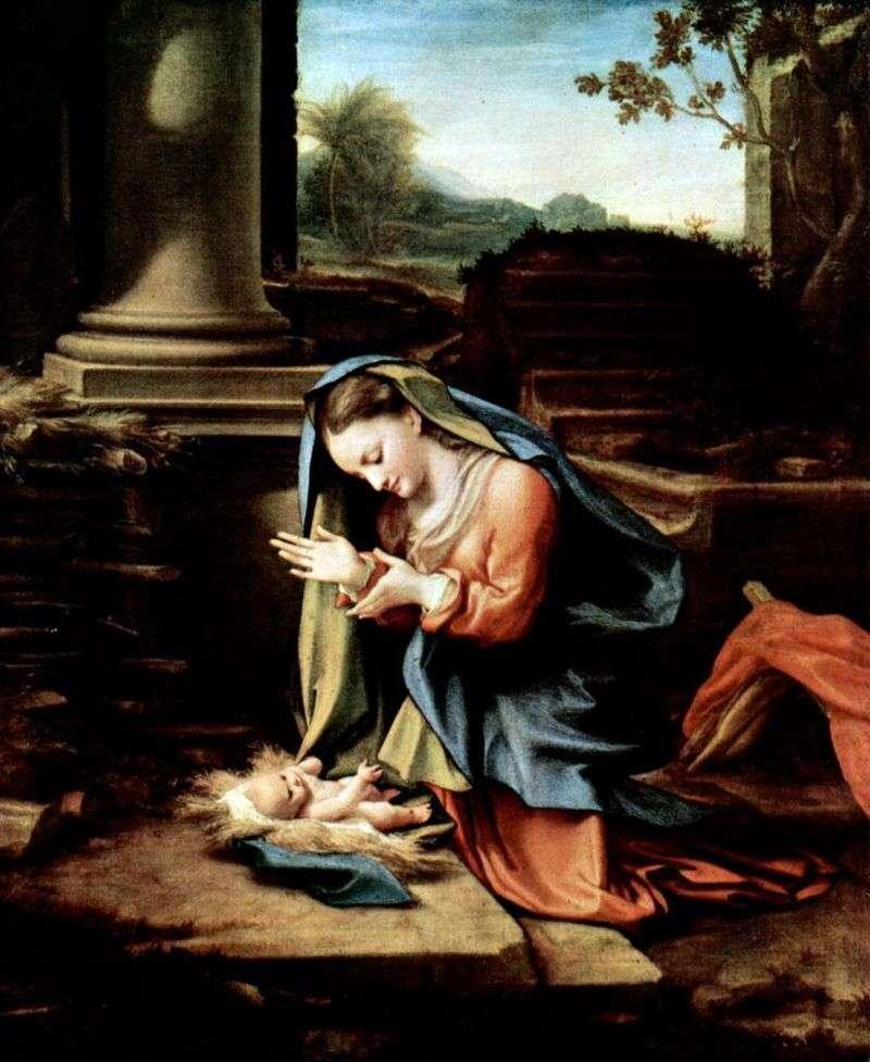 Najświętsza Maryja Panna, czcząca dziecko   Correggio (Antonio Allegri)