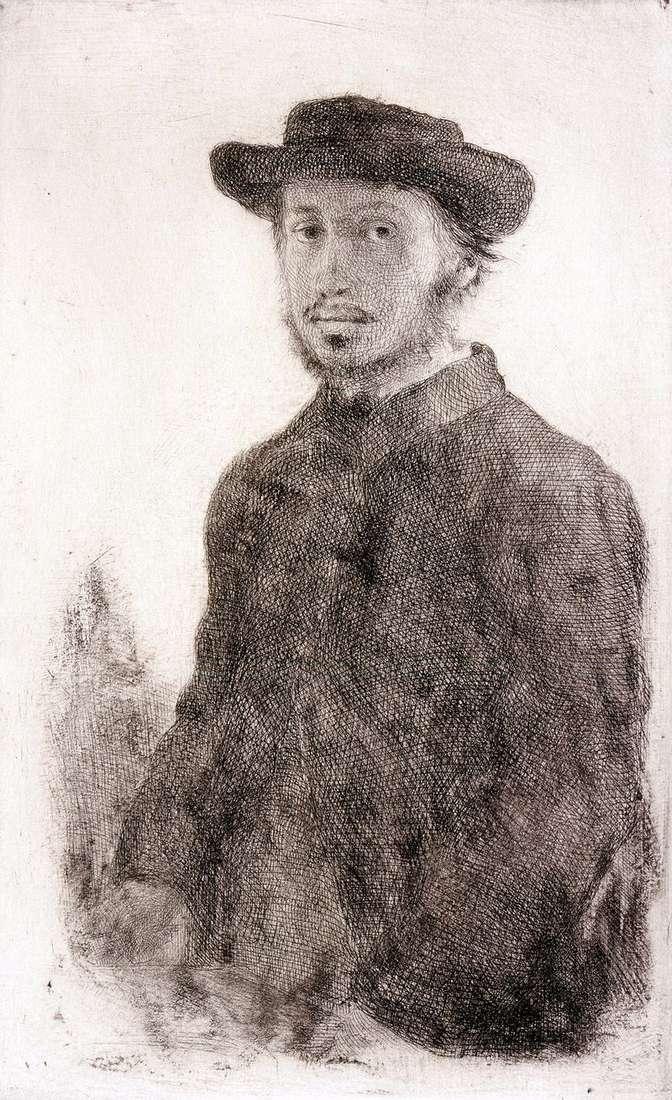 Autoportret. Grawerowanie   Edgar Degas