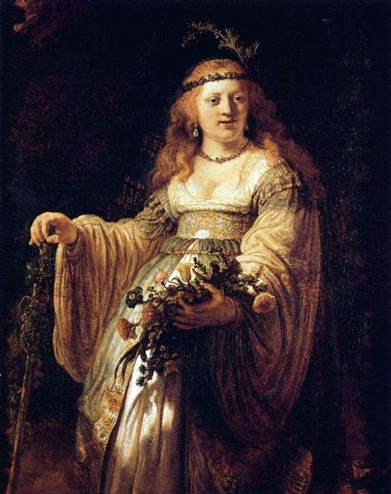 Portret Saski w stroju pasterskim   Rembrandt Harmens Van Rhine