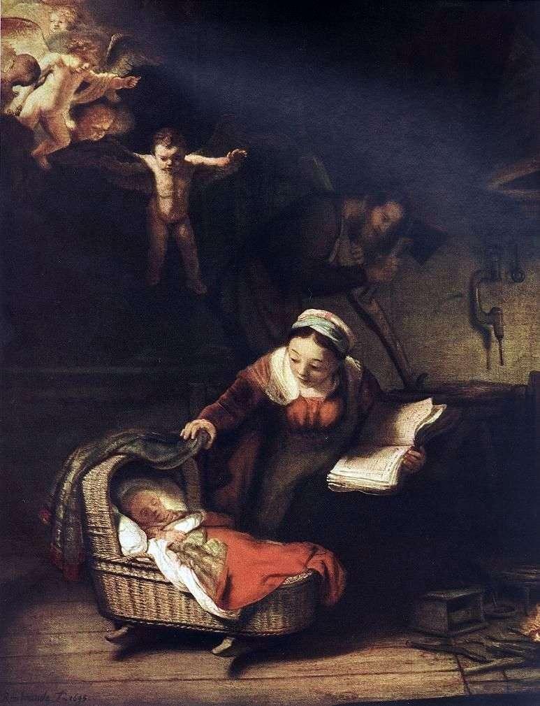 Święta rodzina i anioły   Rembrandt Harmens Van Rhine