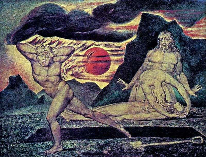 Adam i Ewa znajdują ciało Abla   Williama Blakea