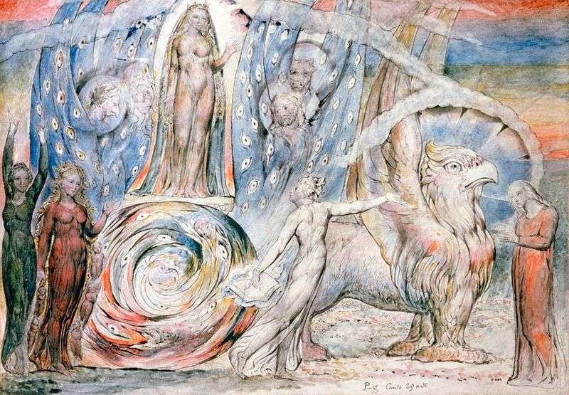 Beatrice zwraca się do Dantego z rydwanu   William Blake
