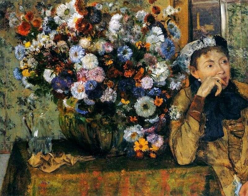 Kobieta siedząca przy wazonie z kwiatami   Edgar Degas