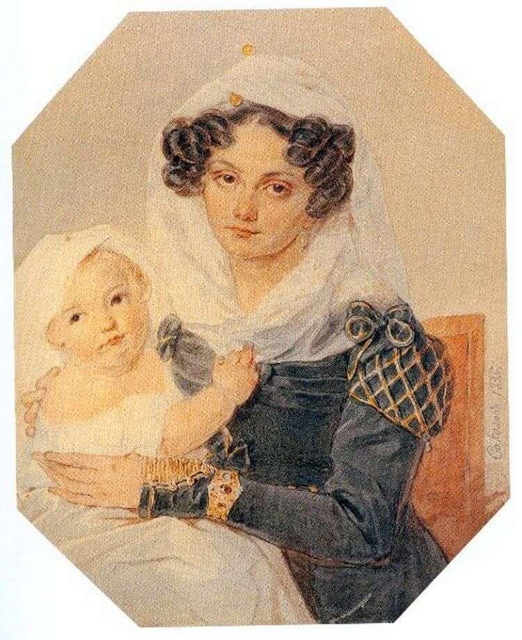 Portret Volkonskaya Maria Nikolaevna z jej synem Nikolai   Peter Sokolov
