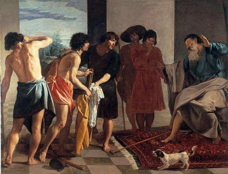 Krwawy płaszcz Josepha przyniesiony do Jacoba   Diego Velasqueza