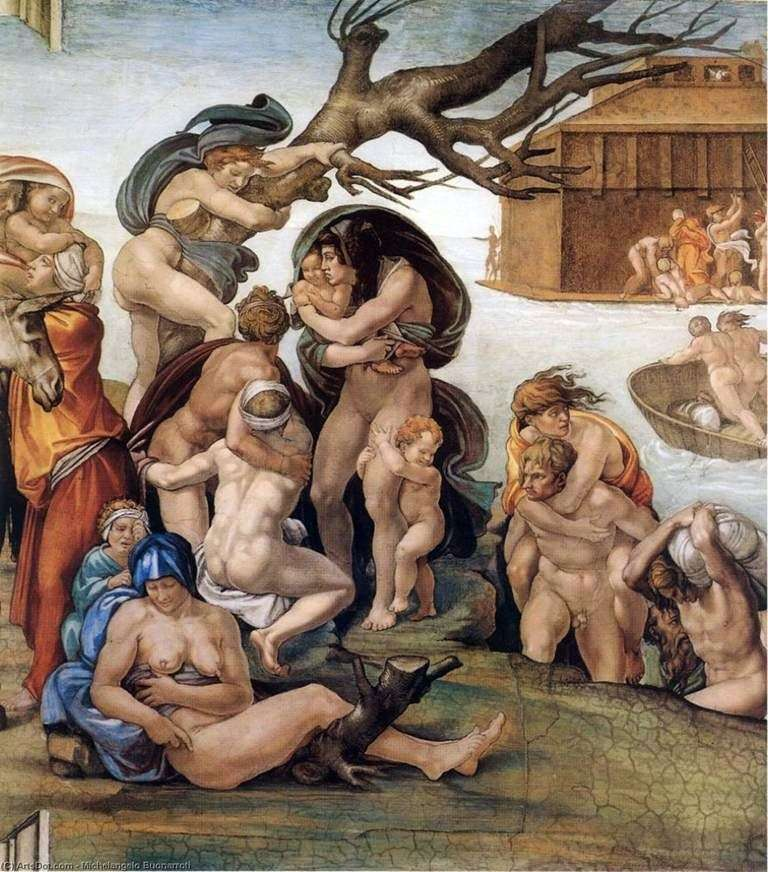 The Flood, fragment obrazu Kaplicy Sykstyńskiej (fresk)   Michelangelo Buonarroti